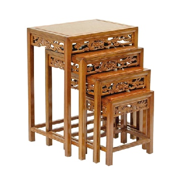 Nest of rosewood tables with open dragon carving