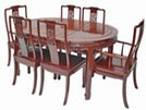 Chinese rosewood dining table - oval 6 seat Bird & Flower design.
