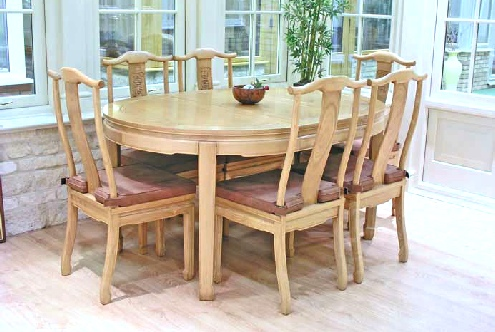 Oval Chinese Dining Table with 6 chairs - Long Life design