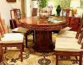 Rosewood Carved Chinese dining table and chairs - Grape design