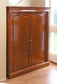 Shoe cabinet in hallway - custom made in solid rosewood