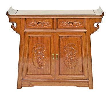 Altar cabinet with bird & flower carving