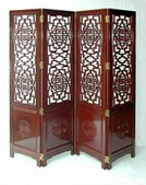 Chinese rosewood screen with solid carved longlife panels below open carved Longlife design upper panels.