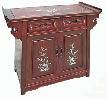 Oriental rosewood altar cabinet with mother of pearl inlays.