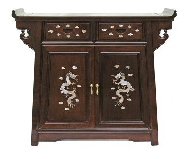 Chinese rosewood altar cabinet with mother of pearl