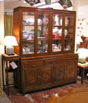 Chinese rosewood sideboard with upper cabinet.