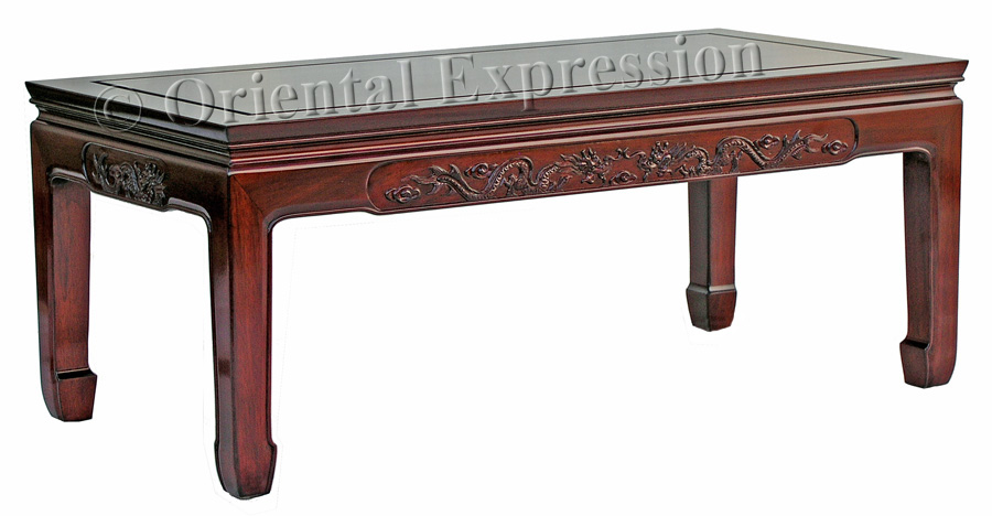 Rosewood Coffee Table With Dragon Carving