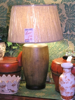 Bronze coarse finished lamp with shade - great patina