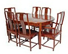 Chinese rosewood dining table - oval 6 seat Ming design.
