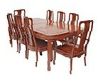 Chinese rosewood dining table - oround cornered 8 seat Bird & Flower design - high back chairs