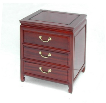 Rosewood Bedside cabinet with 3 drawers in plain design