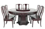 Chinese rosewood pedestal dining table - round 8 seat Dragon design