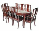 Chinese dining table-oval 8 seat - plain design rosewood