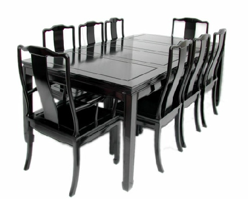 Chinese rosewood rectangular dining suite black finish for Oriental dining table and chairs