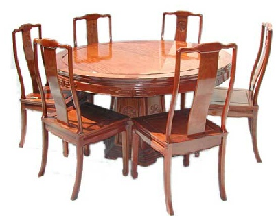 Mandarin style round dining table with long life design, including 6 chairs