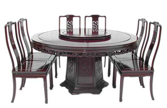 Oriental Dining Room Sets chinese dragon design round dining table with 8 chairs
