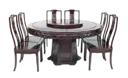 "Mandarin Style, dragon design, round dining table. Incl 8 side chairs and 30"" Lazy Susie."
