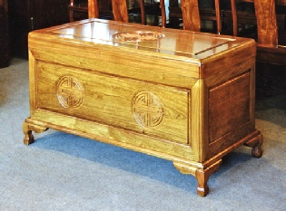 Chinese rosewood chest with longlife carving, colour 2.
