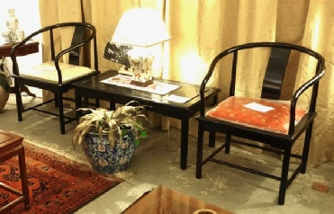 Pair of Ming style horseshoe chairs with coffee table