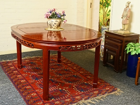 Chinese Rosewood 8 seat dining table £299 incl 2 leaves, with Bird and Flower carving