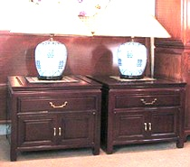 Pair of Chinese rosewood lamp tables with drawer and 2 doors.