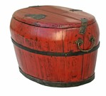 Antique Red Lacquer Rice Container