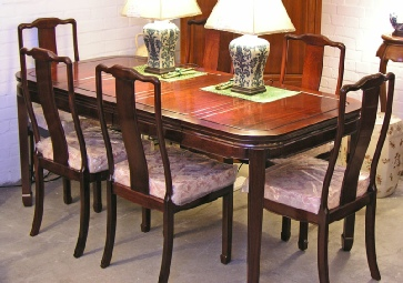 Rectangular Chinese Dining Table with 6 chairs.
